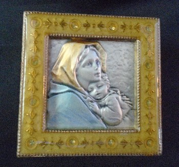 Salerni Madonna of the Streets Gold enamel picture